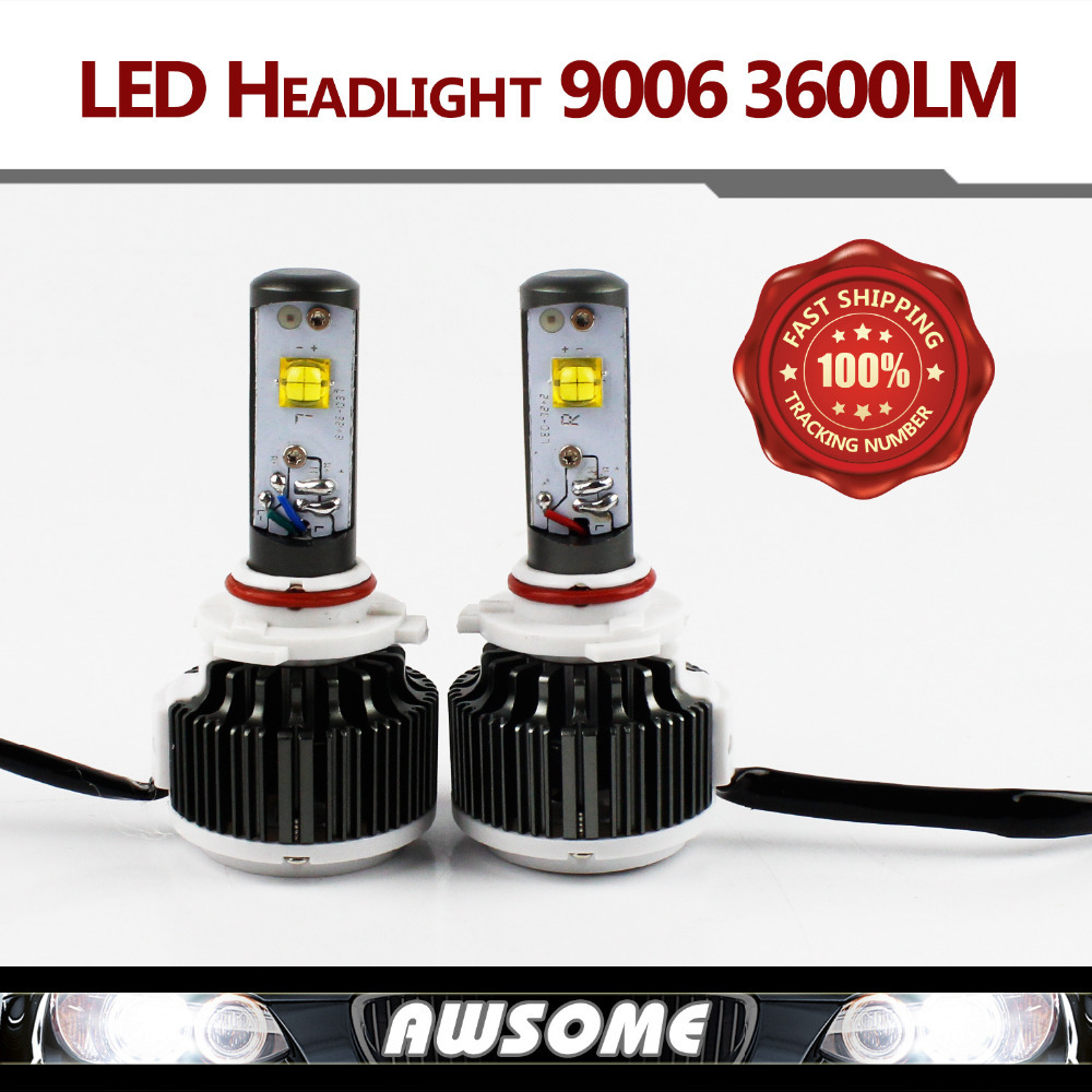 Pair 2015 New Cree LED Chip 9006 HB4 6000K Xenon White Bulbs 30W 3600LM/60W 7200LM Car LED Headlight Kit Fog Lamp Light Source