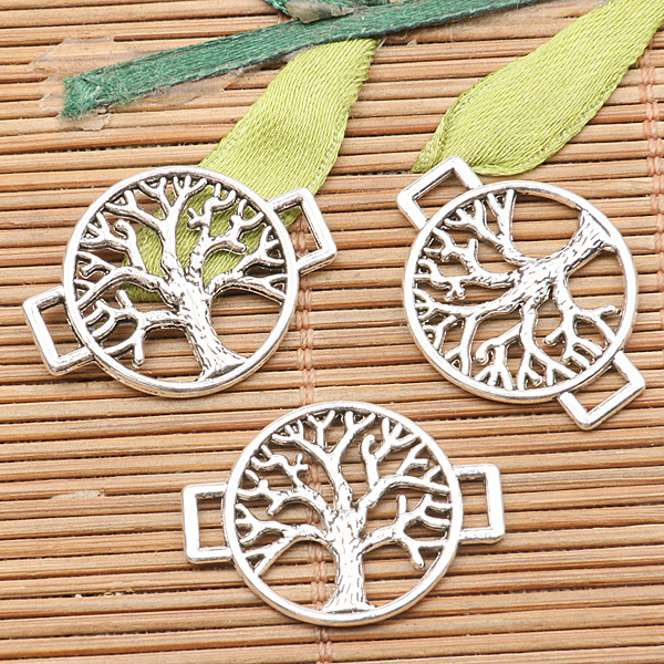24pcs tibetan silver color round tree conector design H3958(China (Mainland))