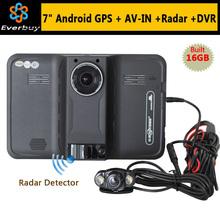 2015 новый 7 дюймов андроид GPS навигация заднего вида автомобиля радар-детектор автомобильный видеорегистратор 1080 P грузовик GPS Navi AVIN / FM / бесплатная карта 16 ГБ