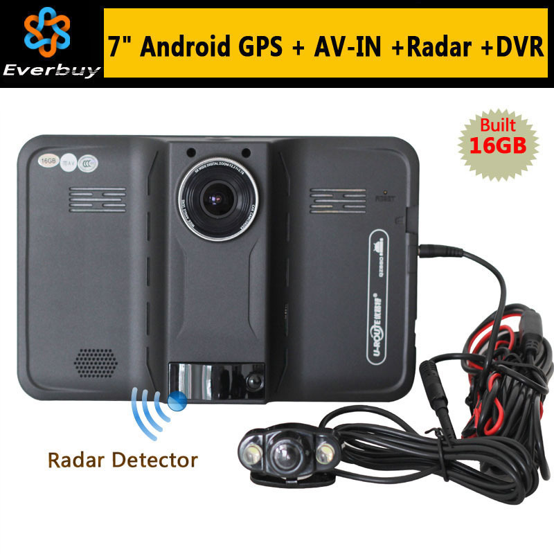 New 7 inch Android GPS Navigation rear view Car Radar Detector Car DVR 1080P Truck vehicle gps Navi AVIN/Free map Built in16GB(China (Mainland))