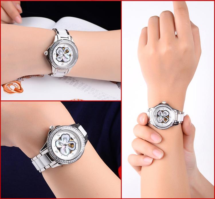 BUREI Часы Женщины Rhinestone Люкс Механические Алмазный 50ATM Платье Наручные Часы Леди Сапфир Зеркало Часы Подарочные Reloj Mujer