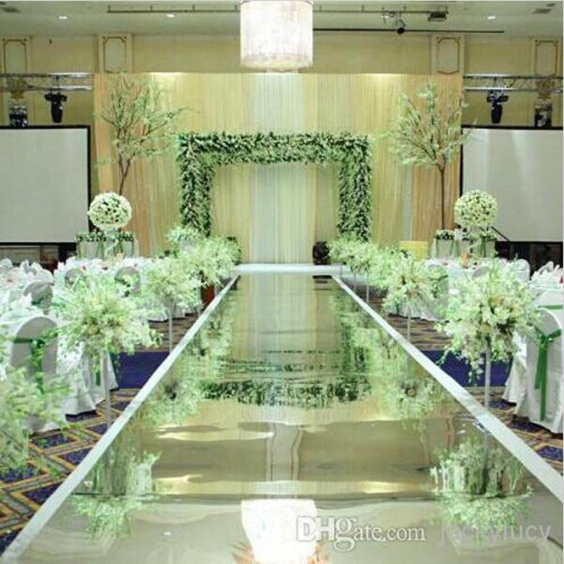 Big Discount Fashion Wedding Aisle Runner Silver Mirror Carpets 1 m Width 10m roll For Holiday