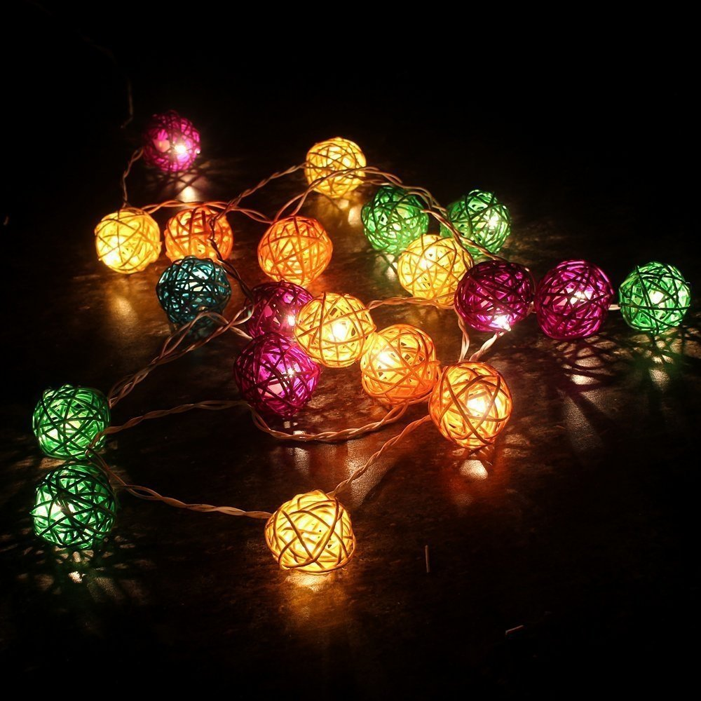 Colorful String Lights : 3M 20 LED Rattan Ball Fairy String Lights Patio lighting Colorful-in Lighting Strings from ...