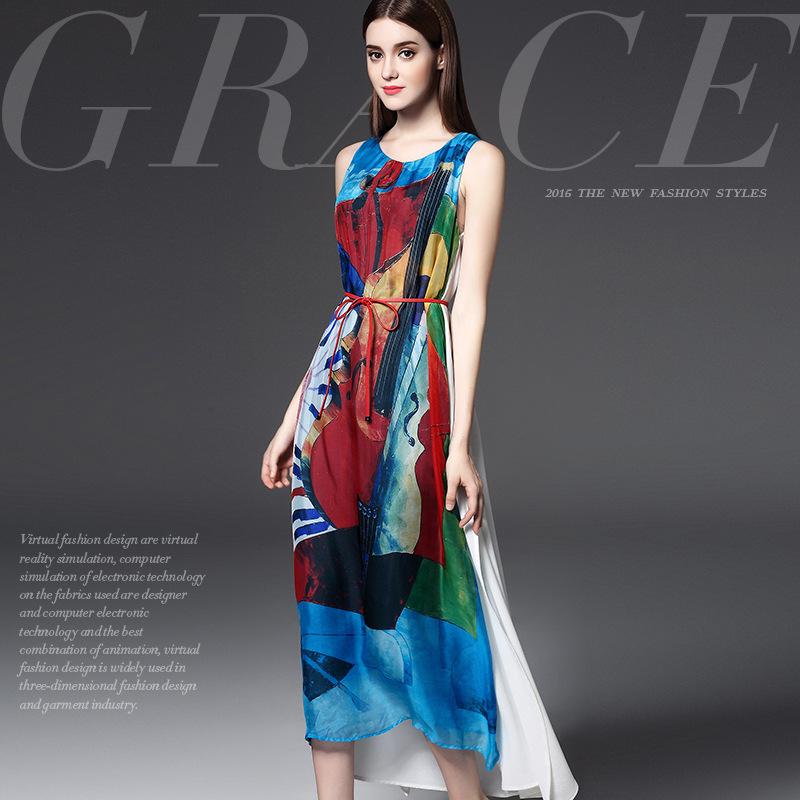 Womens 100% Mulberry silk dress 2016 Brand high quality women summer fashion mosaic elegant sleeveless long dress famaleОдежда и ак�е��уары<br><br><br>Aliexpress