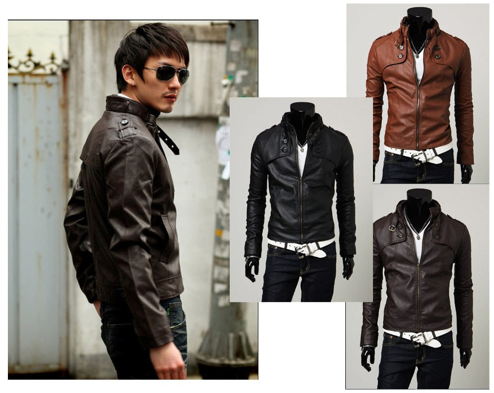 Free Shipping Korean Style 2014 New Men Fashion Jacket Stand Collar Slim Cusual Leather Jacket