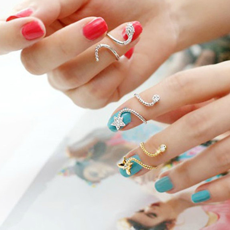 2015 new Cute Butterfly Snake Starfish Twisted Above Knuckle Finger Nail Ring Girls Jewelry 2 Colors Drop Shipping RING-0036(China (Mainland))