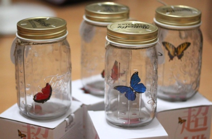 Free Shipping 4 Pieces Butterfly Jar Glass Butterfly Bottle My Butterfly In A Jar Romantic Home Decor(China (Mainland))