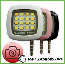 Hot LED Selfie Flash Light RK05 for iphone Smartphone i5/i6/note 7/s7/s7 edge etc Running iOS/Android/WP8 Phone 3.5mm Jack Plug(China (Mainland))