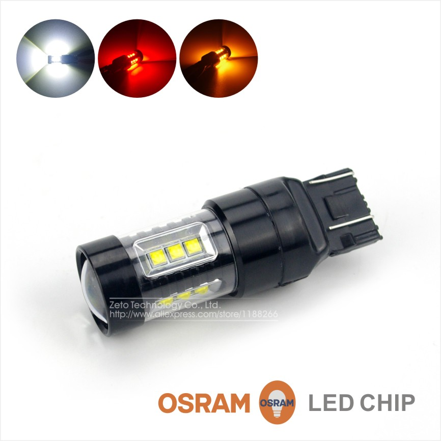 2x White/Red/Amber T20 7440 7443 W5/21W 80W LED Backup Reverse Tail Turn Signal Light Lamp OSRAM Chips Car Tail Side Light(China (Mainland))
