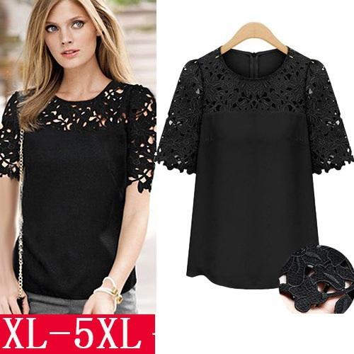 Summer 2015 women shirts chiffon blouses fashion tops plus size round neck short-sleeved lace camisa blusas femininas clothes(China (Mainland))