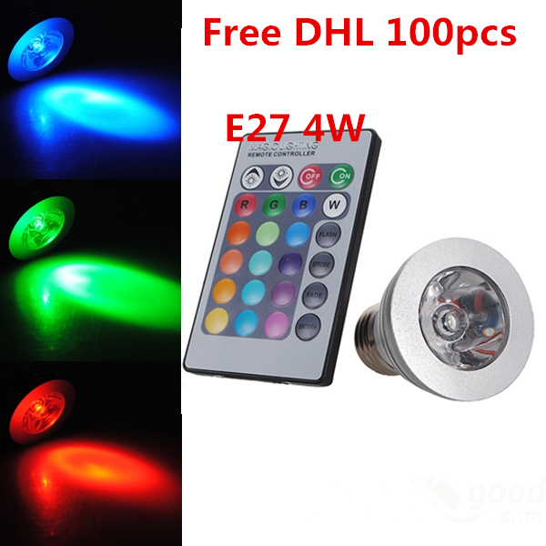 Здесь можно купить  Lowest price 4W LED RGB spotlight E27 E14 GU10 MR16 24key remote control dimmable led bulb lamp fashion design  Свет и освещение