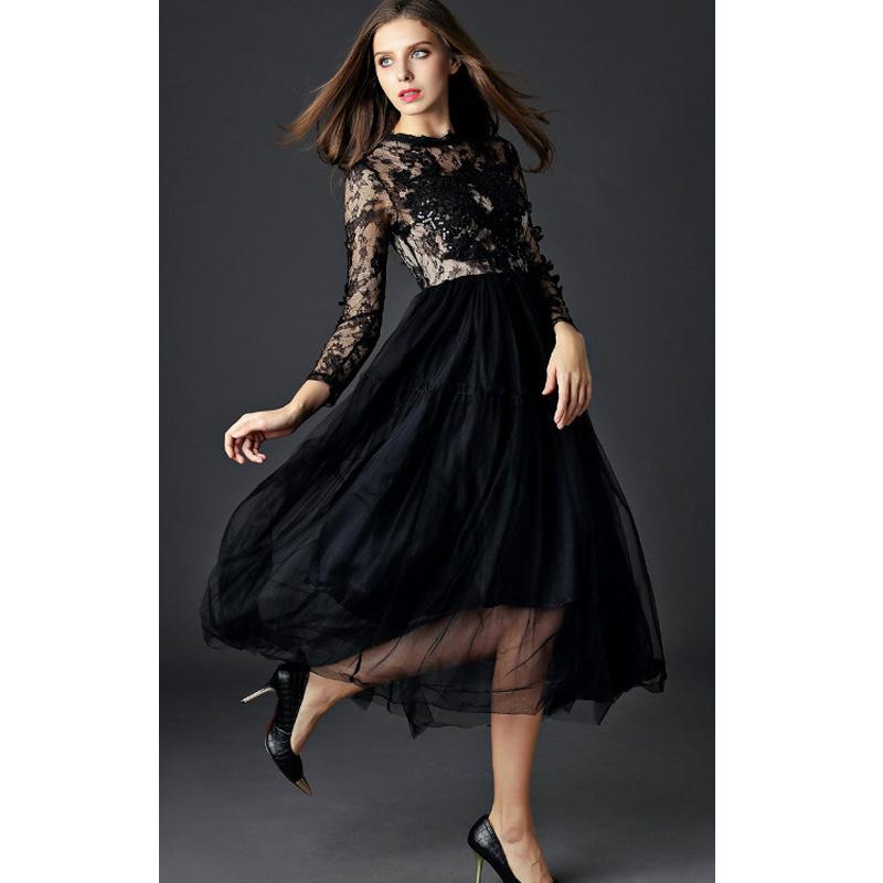 long sleeve ankle length black dress « Bella Forte Glass Studio