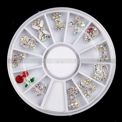 12pcs Silver Plated Crystal Glitter Gems Bowknot Swan Cross Nail Art Tips Decor