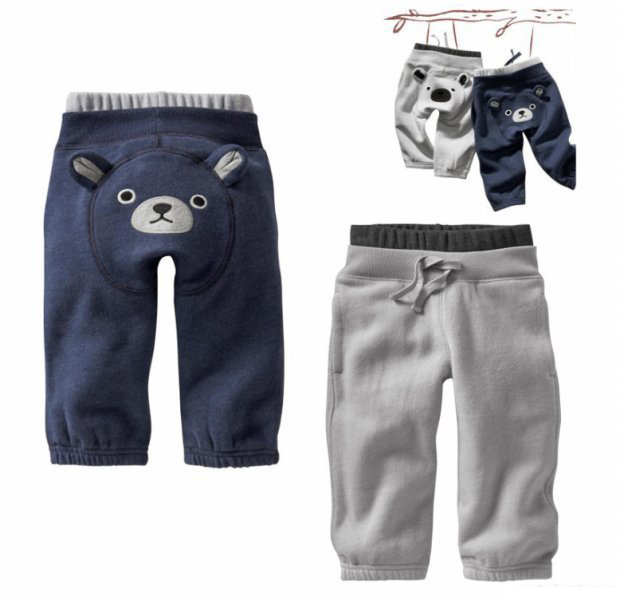 2015 new 100% cotton winter baby boy children's pants casual thick cartoon hoodie PP pants leggings plus size(China (Mainland))