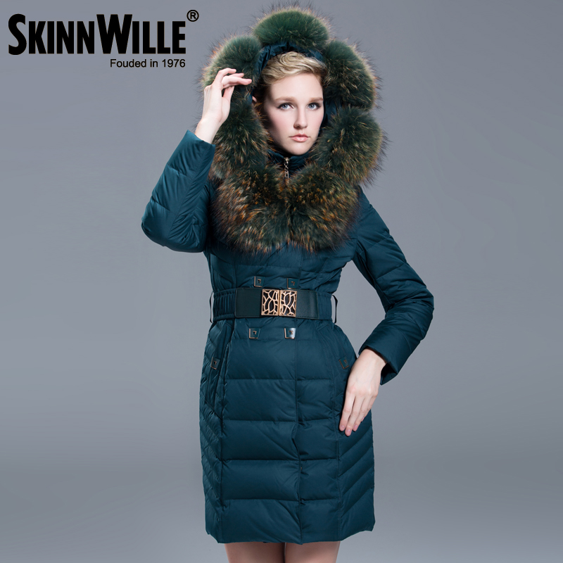 2016 Winter Jacket Women's Luxury Raccoon Fur Collar White Duck Coats Fashion Jackets Women Branded Long Parkas - Original Brand Direct Shop store