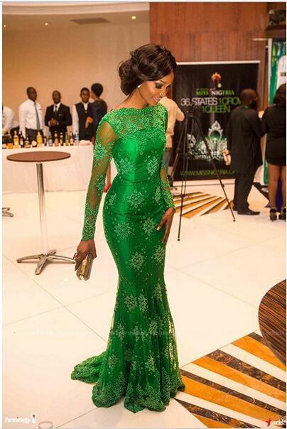 Real Photos Mermaid Green Lace Evening Dresses Formal Gowns abendkleider 2015 robe de soiree(China (Mainland))