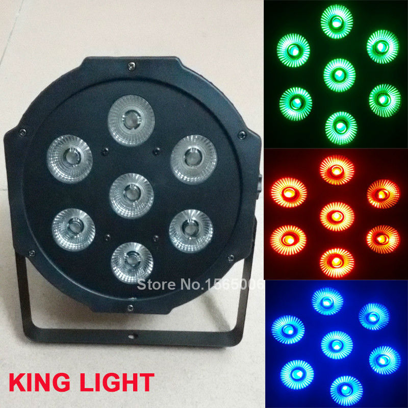 7x 9W RGB DMX Stage Business Led Flat Par High Power Light with Professional for Party KTV Disco DJ EU free shipping(China (Mainland))