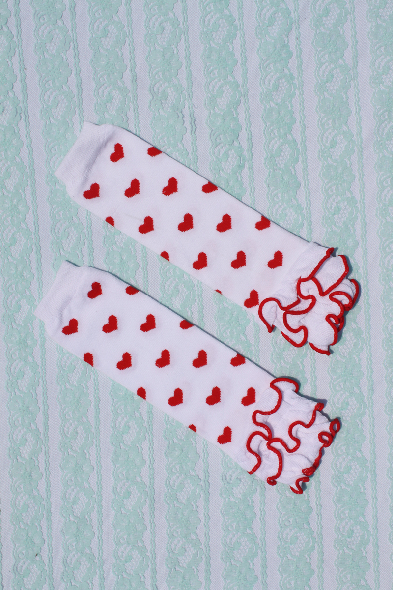 hot sale 2014 baby leg warmers children 100% cotton White Red Hearts Ruffle leg warmer socks adult arm warmer 12pairs/lot Melee(China (Mainland))