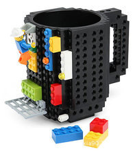 Blue Tetris Designer Mugs High Quality Plastic Building BlockTazas Coffee Cup DIY Block Puzzle Mug 5colors