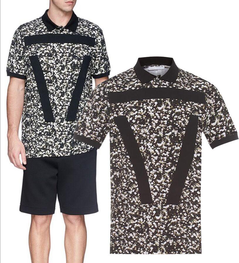 Turn down neck mens t shirts fashion 2015 brand t-shirt 3d printed floral tee shirts designer tie dye tshirt fitness camisetas(China (Mainland))