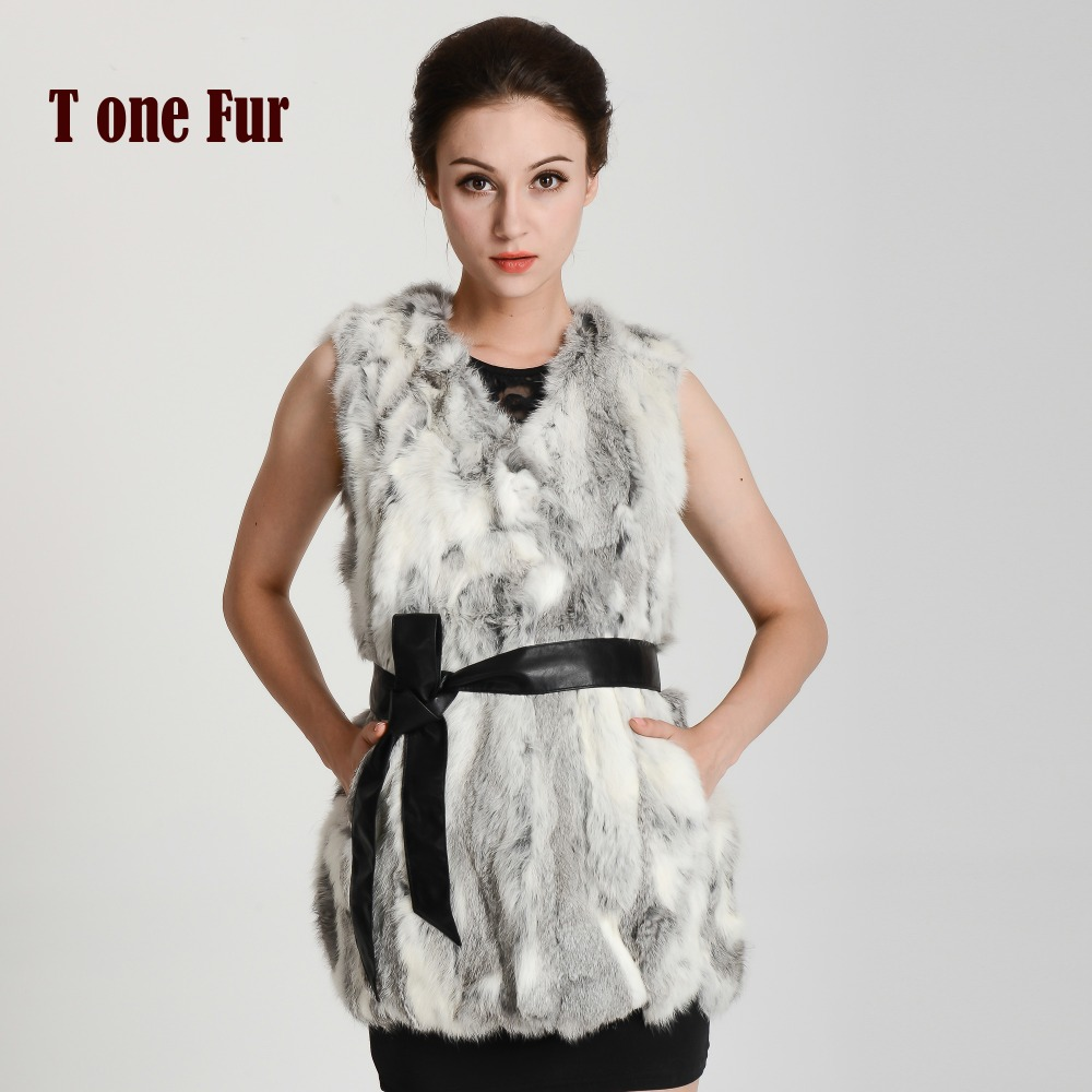 2016 New Arrival Real Rabbit Fur Vest Lady Luxury Fashion Fur Vest Free shipping KHP134(China (Mainland))