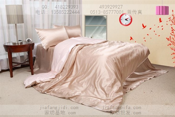 Beige mûrier blanc de soie couette ensemble de literie king size reine couettes satin housse de couette lit couette drap de lin couvre-lit(China (Mainland))