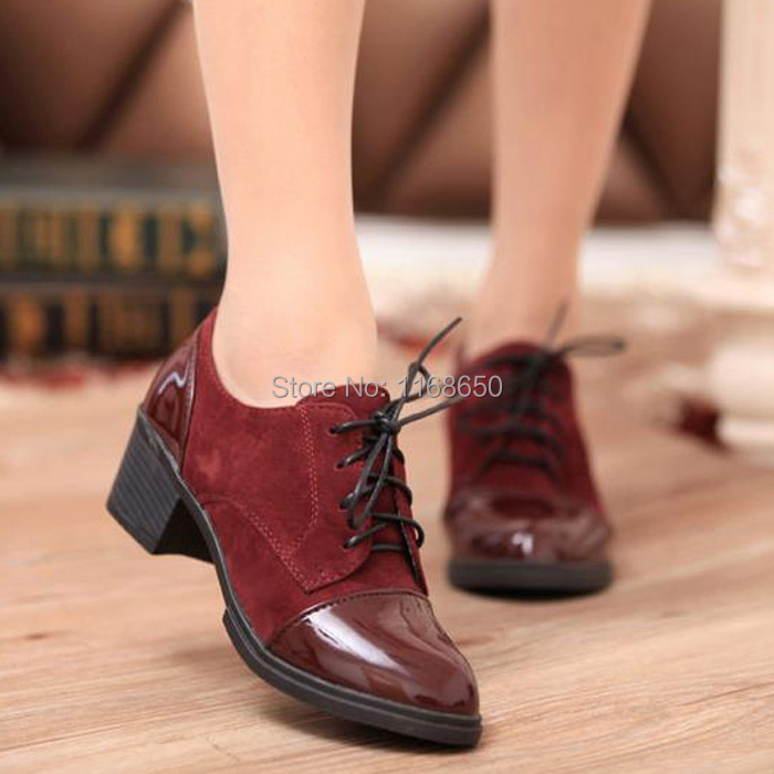 2015 Sewing Women Pumps Ladies Stiletto High Heels Shoes Woman Office Dress Shoes Platform Pumps Hoof Heels Lace-Up Shoes(China (Mainland))