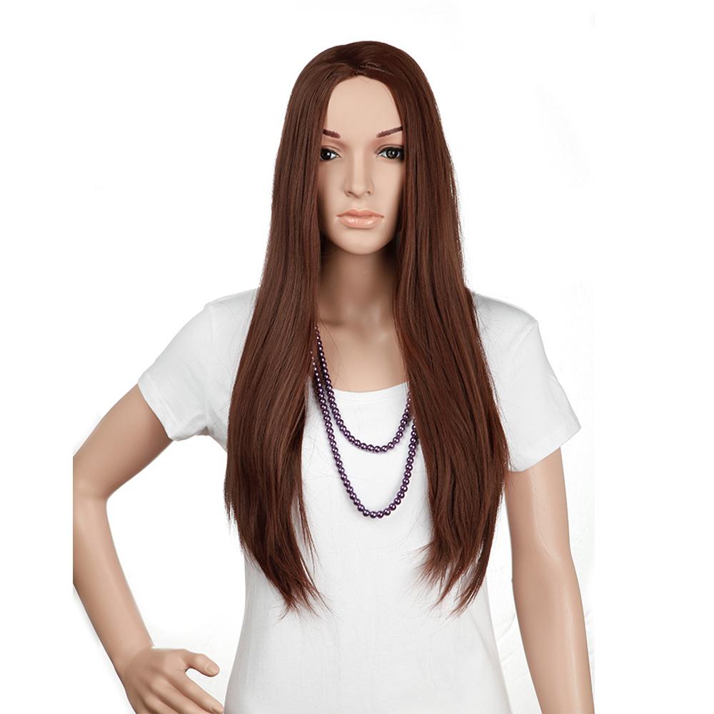 "25"" Women 3/4 Half Wigs Dark Auburn Straight Long Kanekalon Heat Resistant Synthetic Hair Wig(China (Mainland))"