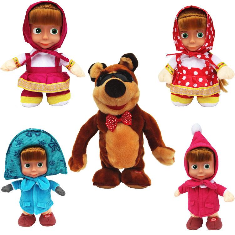 Russian walking repeat talking Masha Music Dolls plush Toy masha and bear cartoon For Kids Baby Girls Russia Unique Gifts(China (Mainland))