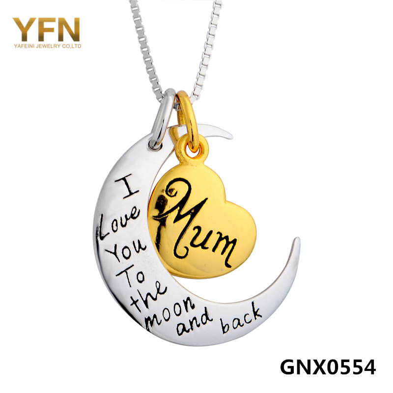 GNX0554 Genuine 925 Sterling Silver Moon and Heart Charms Necklace Women Jewelry I Love You To The Moon and Back Necklace<br><br>Aliexpress