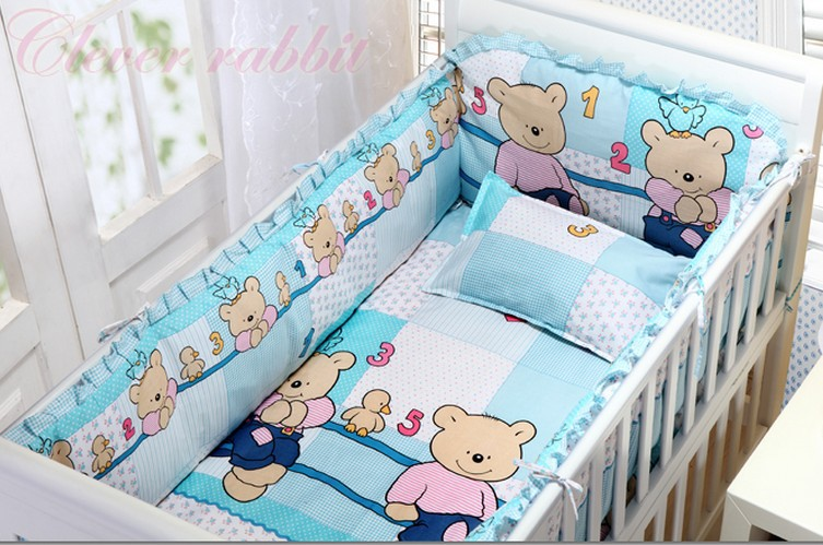 Promotion! 6pcs Baby Cot Crib Bedding Sets Baby Nursery Bed Kits set Crib Bumpers Sheet  (bumpers+sheet+pillow cover)<br><br>Aliexpress
