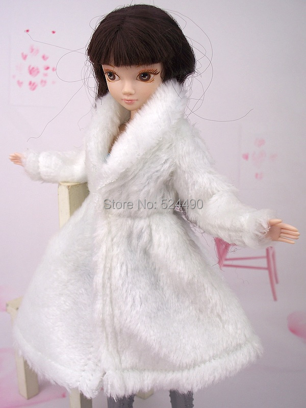 1 Computer White Plush Lint Coat Winter Put on Gown Snowsuit Clothes Outfit Garments For 1/6 Kurhn Barbie Doll