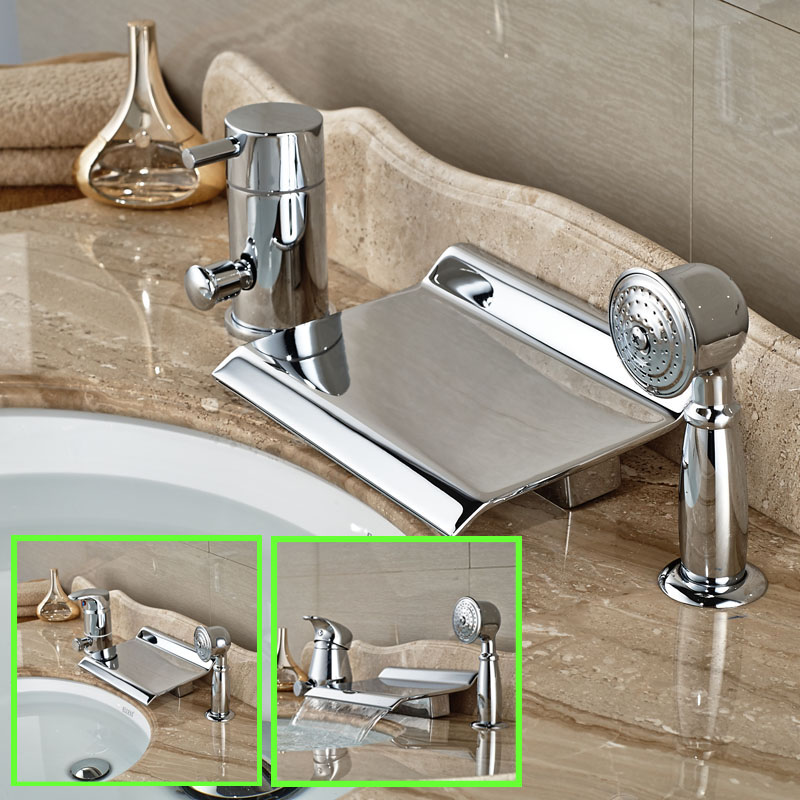 Polished Chrome Single Handle Waterfall 3pcs Bathtub Mixer Faucet with Hand Shower Deck Mount 3-styles