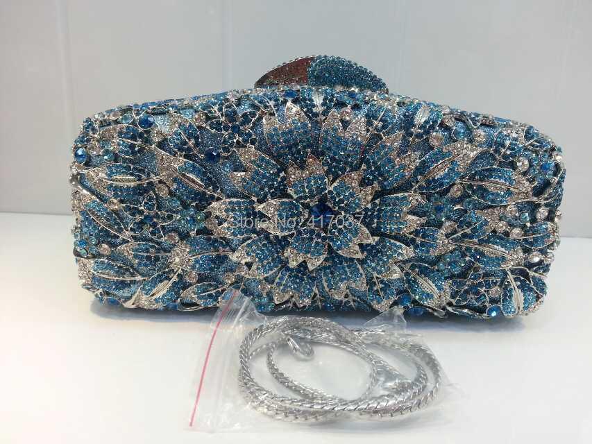 222-colorB BLUE Crystal Floral Flower Wedding Bridal Party Night Metal Evening purse handbag clutch bag<br><br>Aliexpress