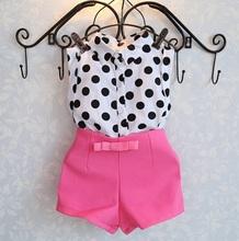 Nouvel été filles ensembles de vêtements fille vêtements de bébé polka dot manteau + pantalon rose bébé vêtements(China (Mainland))