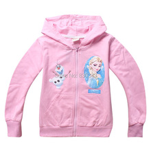 Snow Princess Kids Girls Zipper Hooded Jacket coat Sport outerwear long sleeve Cotton hoodies sweatshirts jumper 4pcs/lot()