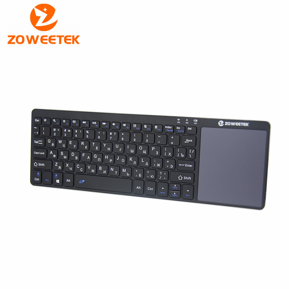 Zoweetek K12-1 2.4g Russian English Wireless Mini Keyboard with Touchpad for Samsung Smart TV Android TV Box(China (Mainland))