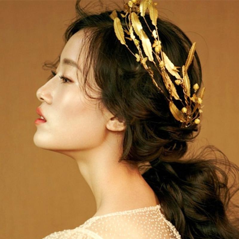 2017 Retro Baroque Wedding Crown Bride Headdress Headband Hair Accessories Golden Leaf Tiara Gold Jewelry Vintage Crowns Tiaras(China (Mainland))