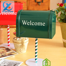 Mini Creativity Rustic Retro Manual Tin Plate Iron Metal Mailbox Newspaper Letter Box Mail Box Post Box Decoration Fast Shipping(China (Mainland))