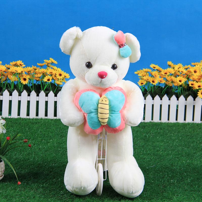 cute plush teddy bear toy stuff teddy bear doll hug a blue butterfly doll gift about 60cm(China (Mainland))