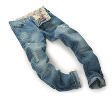 Brand Mens Jeans Straight Ripped Jeans For Men High Quality Button Fly Denim Bike Jeans Men Fashion Designer Pants Jean Homme(China (Mainland))