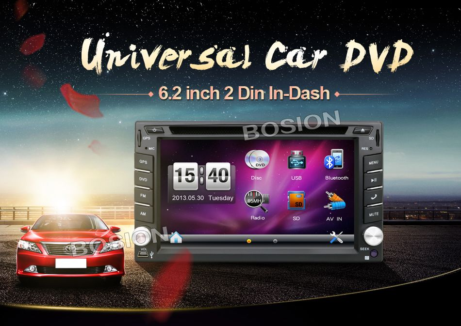 """2016 EU warehouse New 6.2"""" Touch Screen car dvd player gps navigation USB SD Bluetooth FM 2din in dash TFT support rear view cam(China (Mainland))"""
