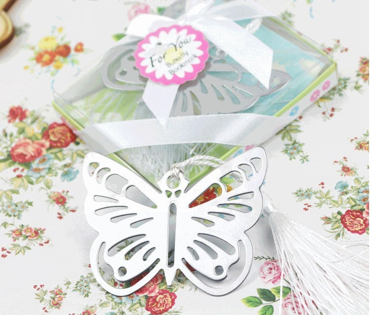 40 Pcs Lot Silver Butterfly Bookmarks For Guest Wedding