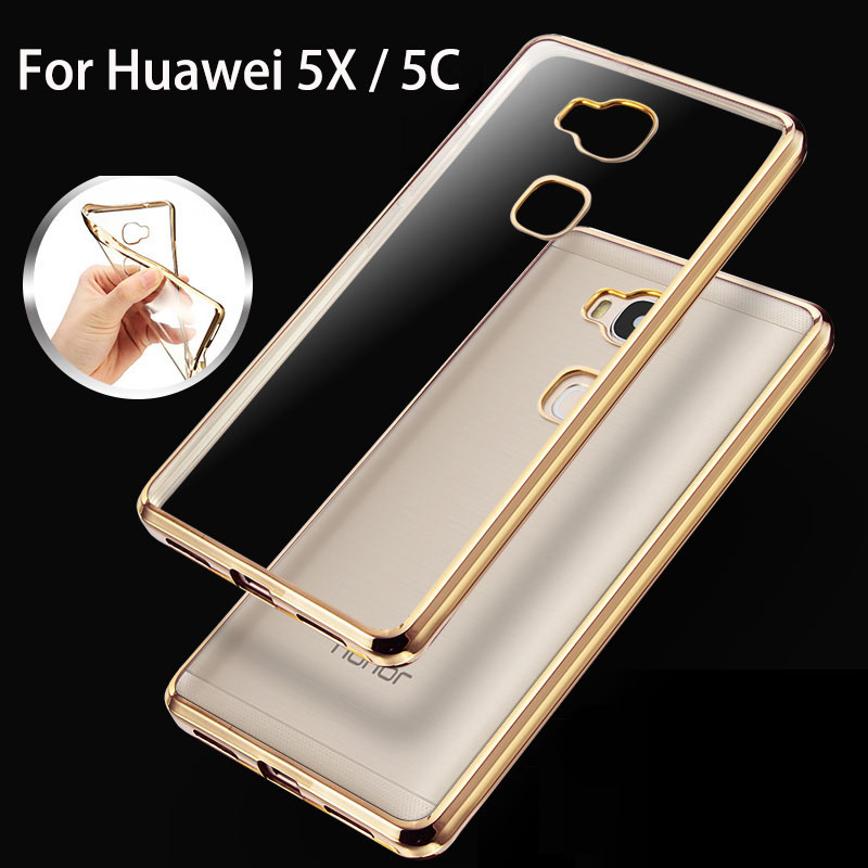 luxury case for huawei honor 5x / 5c 5 x c by silicone rose gold plating tpu transparent clear thin slim soft phone cover cases(China (Mainland))