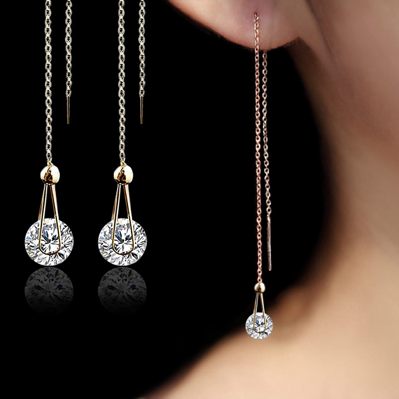 long crystal earrings for women rose gold plated stud