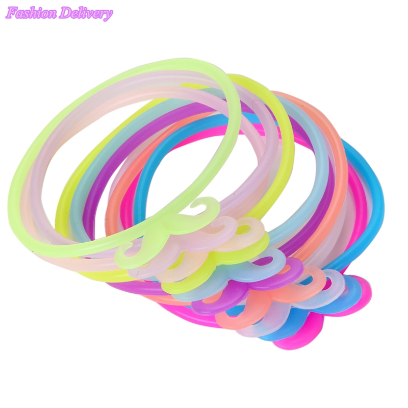10pcs/Lot Mix Color Hair Rope Mustache Beard Fluorescent Candy Color Rubber Elastic Hair Bands For Women Girl Kids Hair Tools(China (Mainland))