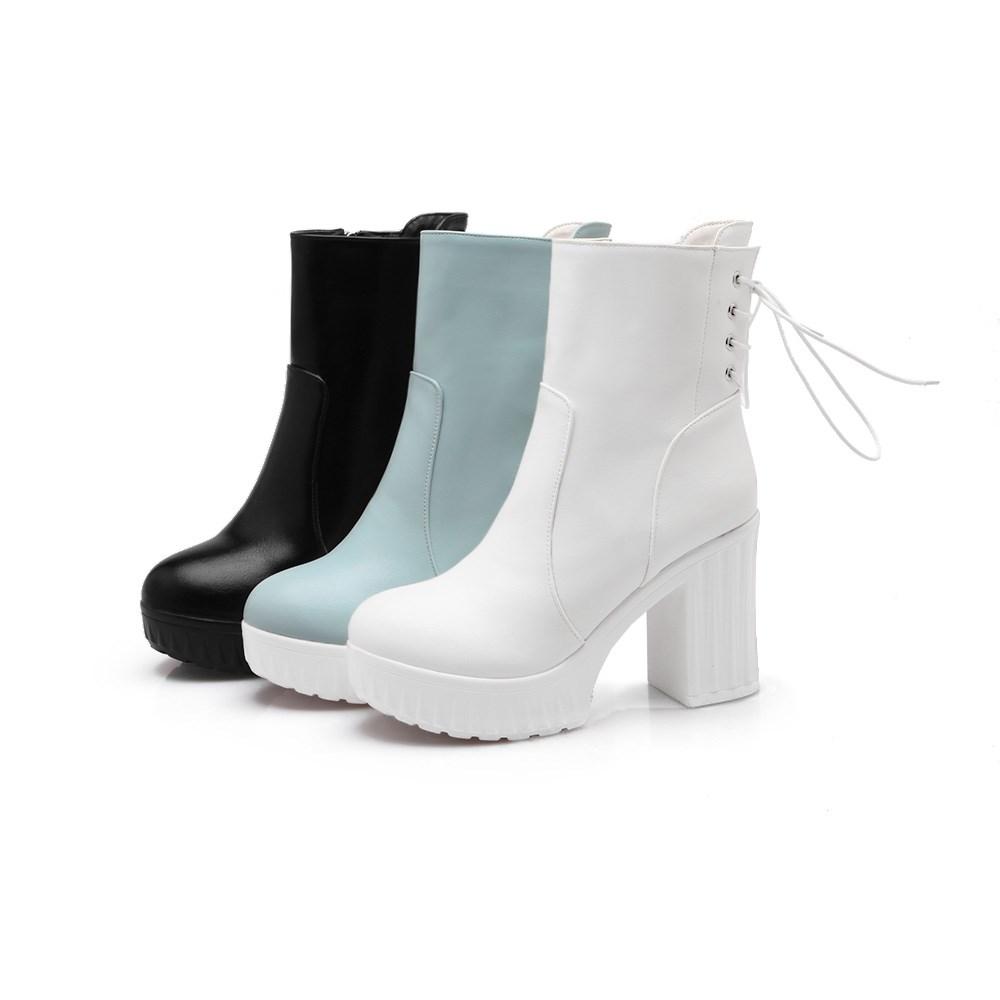 Women high heel half short ankle boots office autumn winter botas fashion thick heel footwear boot heels shoes size 35-42 S97-6