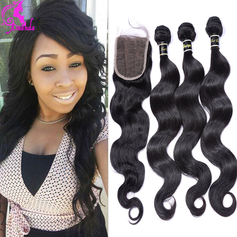 Malaysian Body Wave With Closure 3 Bundles With Closure Human Hair With Closure Malaysian Virgin Hair Body Wave Lace Closure