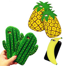 For iphone 6 Cactus 3D Cute Pineapple Soft Silicone Cases For IPhone 6s 6Plus Phone Cartoon Fruit Back Cover Cases For iphone SE