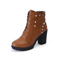 Alta Calidad de LA PU + Cuero Genuino Botas Remaches Tacones Cuadrados Otoño invierno Botines Sexy Botas de Piel de Nieve Zapatos de Mujer de Tamaño 35-39(China (Mainland))